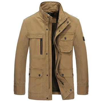 Mens Military Outdoor Slim Fit Jacket Stand Color Cotton Embroidery Casual Coat