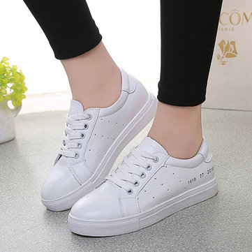 Women White Pu Korean Style Breathable Simple Lace Up Flat Sport Casual Shoes