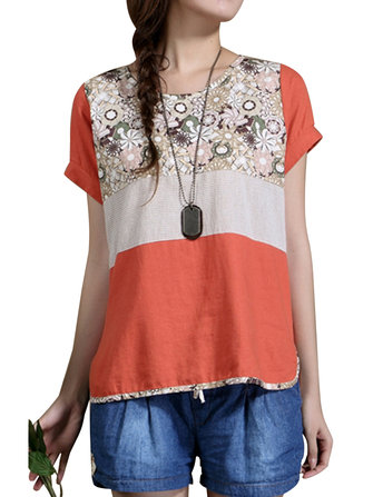 Mujeres casuales patchwork floral top camiseta