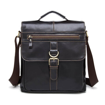 Men Business Genuine Real Leather Casual Coffee Messenger ...
