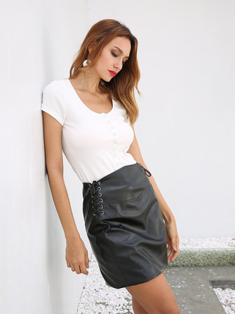 S-5XL Sexy Women Black Mini Bodycon Skirts