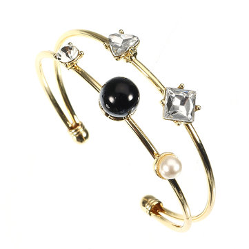 JASSY® Stylish Crystal Pearl Bangle Asymmetric 14K Gold Plated Anallergic Women Fashion Bracelet