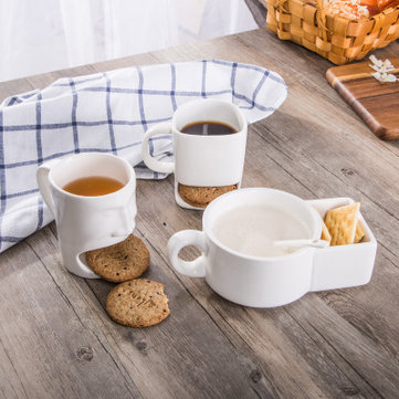 Ceramic Cookies Cup Dunk Mug with Biscuit Holder Face Shape Cookie Ceramic Coffee Tea Mug