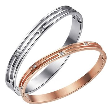 Sweet Titanium Steel Silver Rose Gold Matching Bracelets
