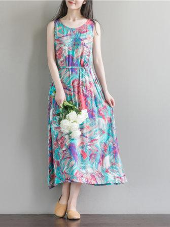 Zomer Retro Women Tie Dye afdrukken mouwloze A-Line Maxi Dress