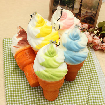 Squishy Jumbo Ice Cream Cone 17cm Slow Rising Soft Collection Decor Gift Phone Bag Strap