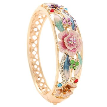 Cloisonné 18K Gold Plated Rhinestone Butterfly Flowers Bangle Bracelet