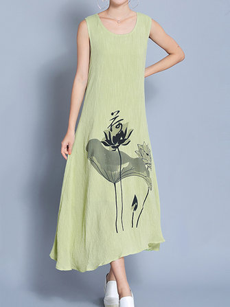 Vintage Sleeveless Loose O-neck Printed Women Dresses