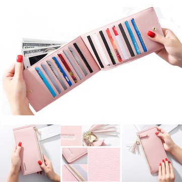 Women PU Leather Multi Card Organizer Wallet Tassel Ladies Purse with Zipper Pocket