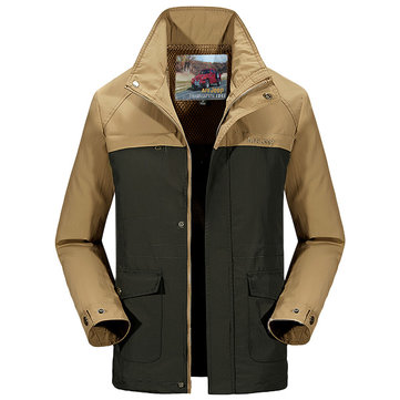 senlin Jeep Mens Casual Hooded Detachable Windbreaker Thin Spring Autumn Travel Jacket Outdoor Coat