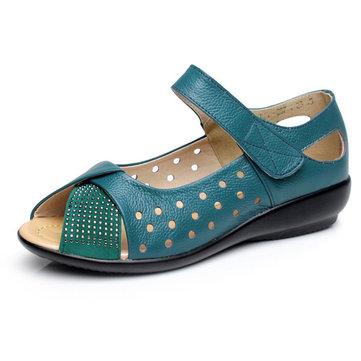 SOCOFY Большой размер Pee Toe Hollow Rhinestones Крюк Loop Flat Shoes