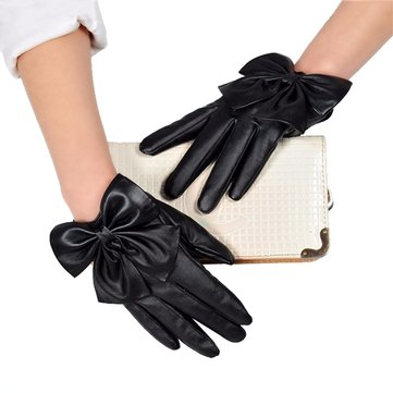 Fashion Women Butterfly Bow Gloves Winter Soft Wrist PU Leather