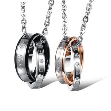 Trendy Zircon Love Cross Rings Titanium Steel Couple Necklace for Men Women