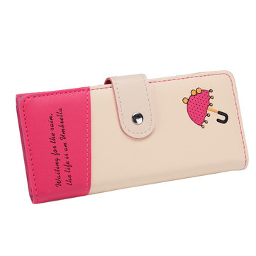 Women Umbrella Printed Long Wallet Candy Color Hasp Purse Card Holder Coin Bags Phone Bags