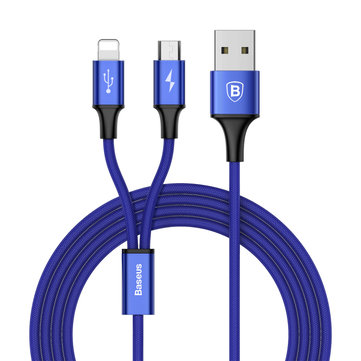 Baseus 3A Quick Charge Micro USB 8Pin Braided 1.2m Data Cable for Smartphone