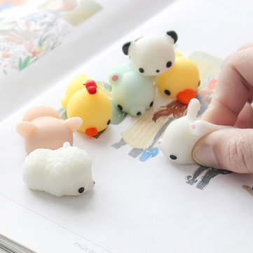 6PCS Seal Chicken Tiger Pig Bunny Bear Squeeze Squishy Healing Toy Collection Stress Reliever