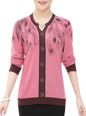 Vintage Printing V-Neck Long Sleeve Knitted Women Sweater