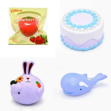 4PCS Kiibru Squishy Strawberry Onion Rabbit Whale Jumbo Pearl Cake Soft Collection Gift Decor Toy