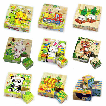 9PCS/Set Wooden Six Side Painting Puzzle Blocks Colorful Educational Wooden Kids Toys
