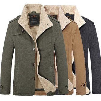 Winter Mens Fashion Plus Size Casual Slim Jacket Thick Warm Solid Color Coat