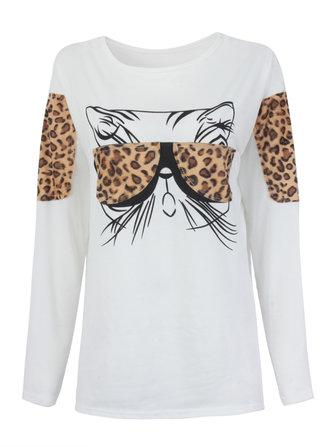 Fashion Women Glasses Cat Printed Long Sleeve T-shirt