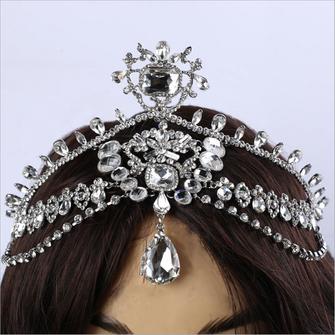 Bruid Diamond Sparkling Crystal Rhinestone Hair Chain Koning Koningin Tiara Wedding Party hoofddeksel