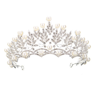 Wedding Bridal Crystal Rhinstone Pearl Silver Queen Crown Tiara Hair Accessories Headbrand