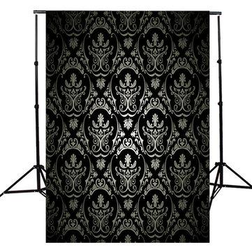 3x5FT Retro Black Damask Wall Photography Backdrop Studio Photo Background Props
