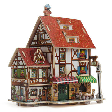 3D Puzzle Handmade Assemble toys for kids 3D Wood House jigsaw Puzzle