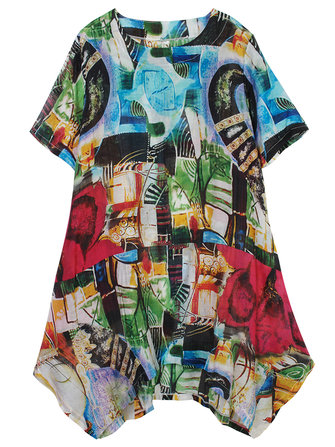 Loose Women Abstract Painting Printing High Low Cotton Linen Dress