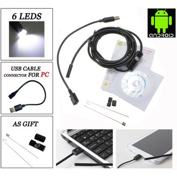 6 LED 7mm Lens IP67 USB Android Endoscope Borescope Waterproof Tube Snake Camera for Android Phone and PC
