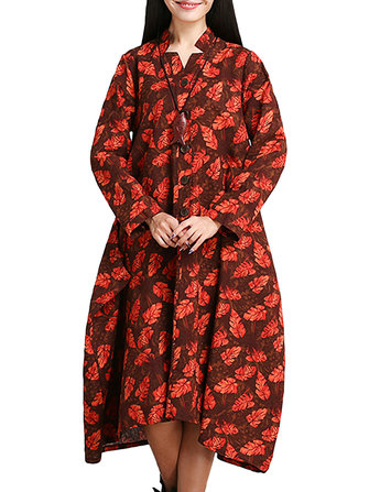 Vintage Women Printing Long Sleeve Los Maxi Dress