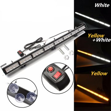 35inch 32 LED Yellow/White Car Modified Strobe Flash Light Flashing Hazard Lamp