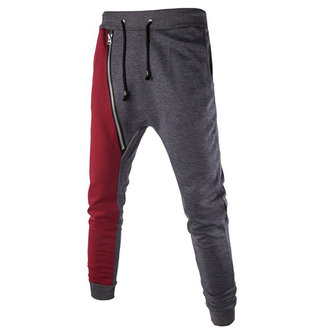 Men's Fashion Zipper Patchwork Drop Crotch Harem Pants Leggings Cotton Contrast Color Trousers