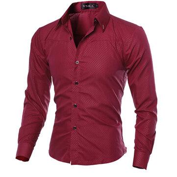 บุรุษบางพอดีกับผ้าดิบGinghamSheerS-3XL รุ่น Pure Color