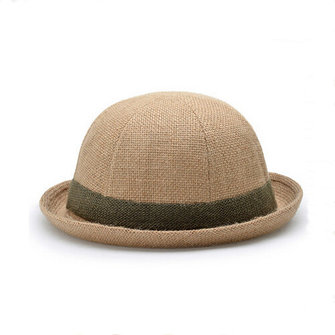 Unisex Women Men Straw Small Ronde Fedora Derby Hat Braid Linnen Trilby Cap Beach Sunhat