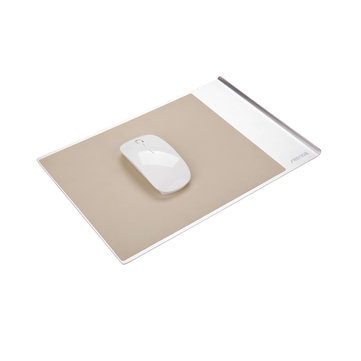 280x190x8mm Aluminum Alloy Metal Beige PU Leather Slim Mouse Pad Silver