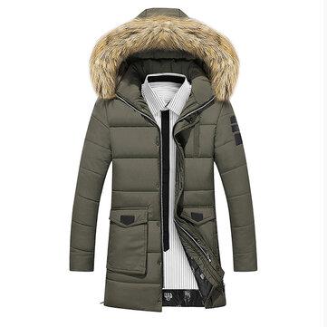 Giacca Parka da Uomo Imbottita di Cotone Media Lunga con Colletto di Pelliccia di Procione Finta Cappotto Caldo Spesso per Inverno