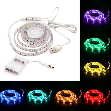 Buy Battery Powered USB 1M SMD5050 60 LED RGB Waterproof Flexible Strip Light TV Backlight Lamp for $5.59 in Banggood store