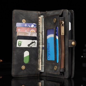 Caseme Vintage Leather Zipper Wallet Case Magnetic Detachable Phone Case For iPhone 7 Plus 5.5 Inch