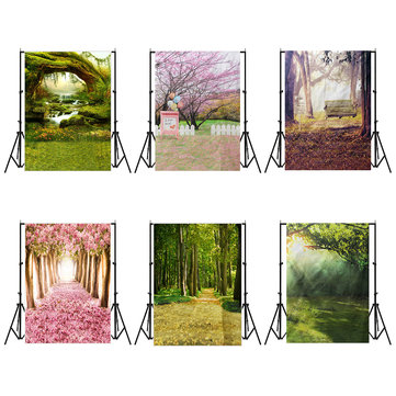 5x7FT Vinyl Spring Green Forest Photography Background Backdrop Studio Prop