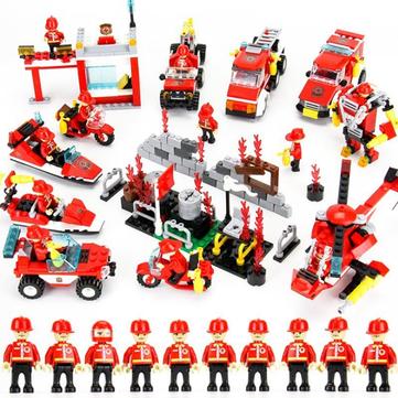 Cikoo 8 in 1 845 stuks bouwblokken Brandstation DIY Educational Intelligence Creatieve Speelgoed Kinder Speelgoed