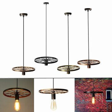fer diy retro vintage de loft industriel lampe suspension plafonnier roue luminaire vente. Black Bedroom Furniture Sets. Home Design Ideas