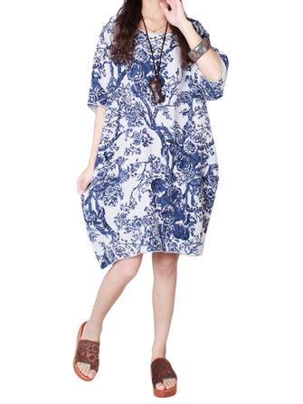 Chinesestijlvintagebedruktelinnenkatoen losse jurk voor vrouwen