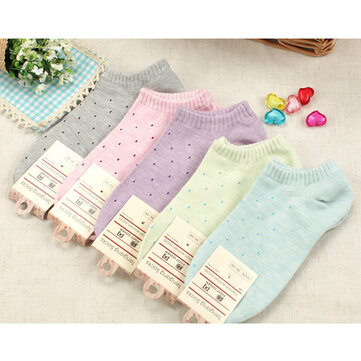 Women Ladies Girls Cotton Polka Dot Soft Candy Color Short Socks