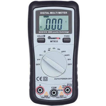 MUSTOOL MT833 2000 Counts Auto Ranging Digital Multimeter DC Current Frequency Capacitance Resistance Diodes Transistor Audible Continuity Tester