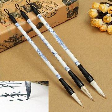 3pcs pennello penna blu Foto in bianco e calligrafia cinese giapponese