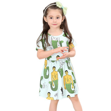 Kid Girls Short Sleeve Cartoon Mermaid Printed Dress