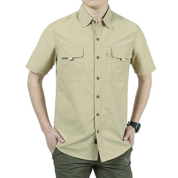 Mens Summer Quick Drying Breathable Solid Color Outdooors Casual Pocket Short Sleeve Shirt
