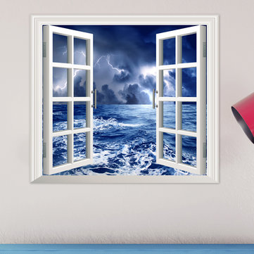 Stormy Sea PAG 3D Artificial Window Wall Decals Balck Cloud Room Stickers Home Wall Decor Gift